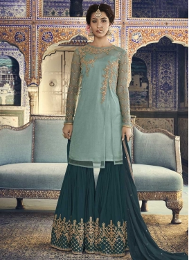 Faux Georgette Aqua Blue and Teal Sharara Salwar Suit