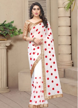 Faux Georgette Beads Work Designer Traditional Saree