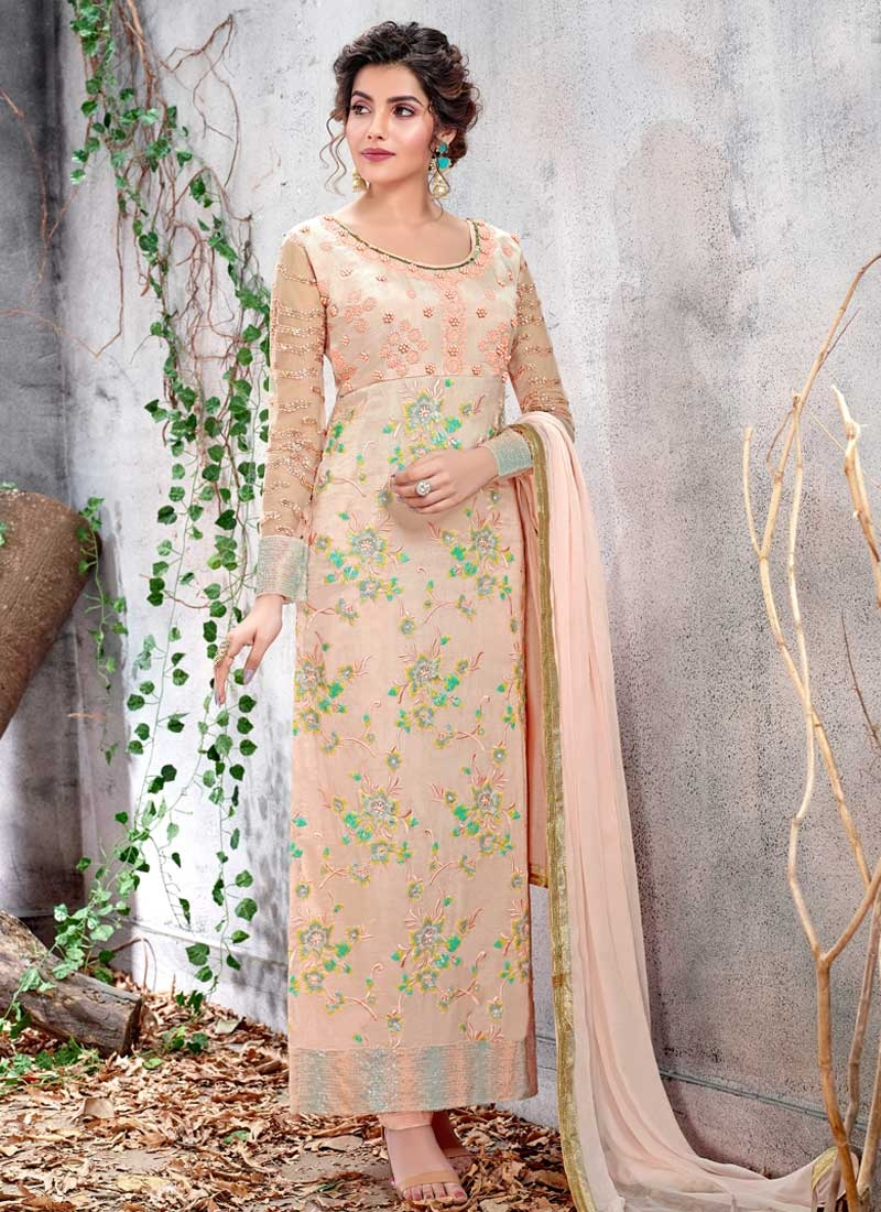 Faux Georgette Beads Work Long Length Pakistani Salwar Suit