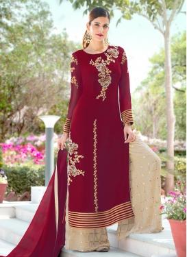 Faux Georgette Beige and Crimson Palazzo Designer Salwar Kameez