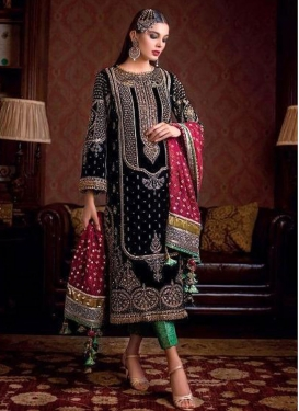 Faux Georgette Black and Green Pant Style Pakistani Salwar Suit