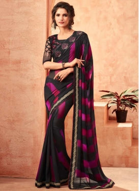 Faux Georgette Black and Rose Pink Embroidered Work Classic Saree