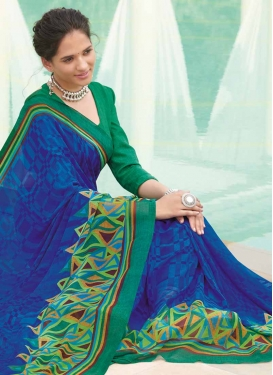 Faux Georgette Blue and Sea Green Traditional Saree