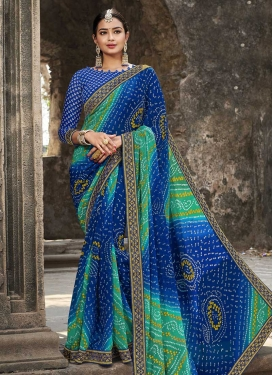 Faux Georgette Blue and Turquoise Designer Contemporary Style Saree