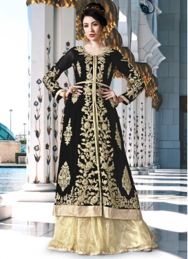 Faux Georgette Booti Work Black and Cream Kameez Style Lehenga