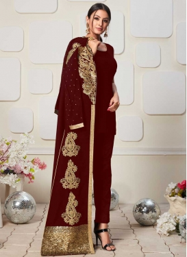 Faux Georgette Booti Work Jacket Style Salwar Suit