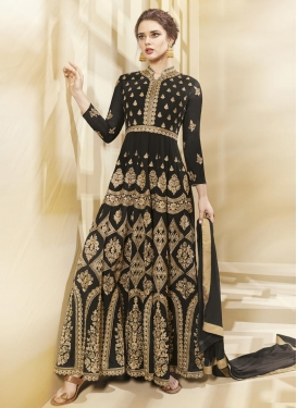 Faux Georgette Booti Work Long Length Designer Anarkali Suit