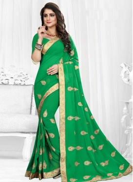 Faux Georgette Booti Work Traditional Saree