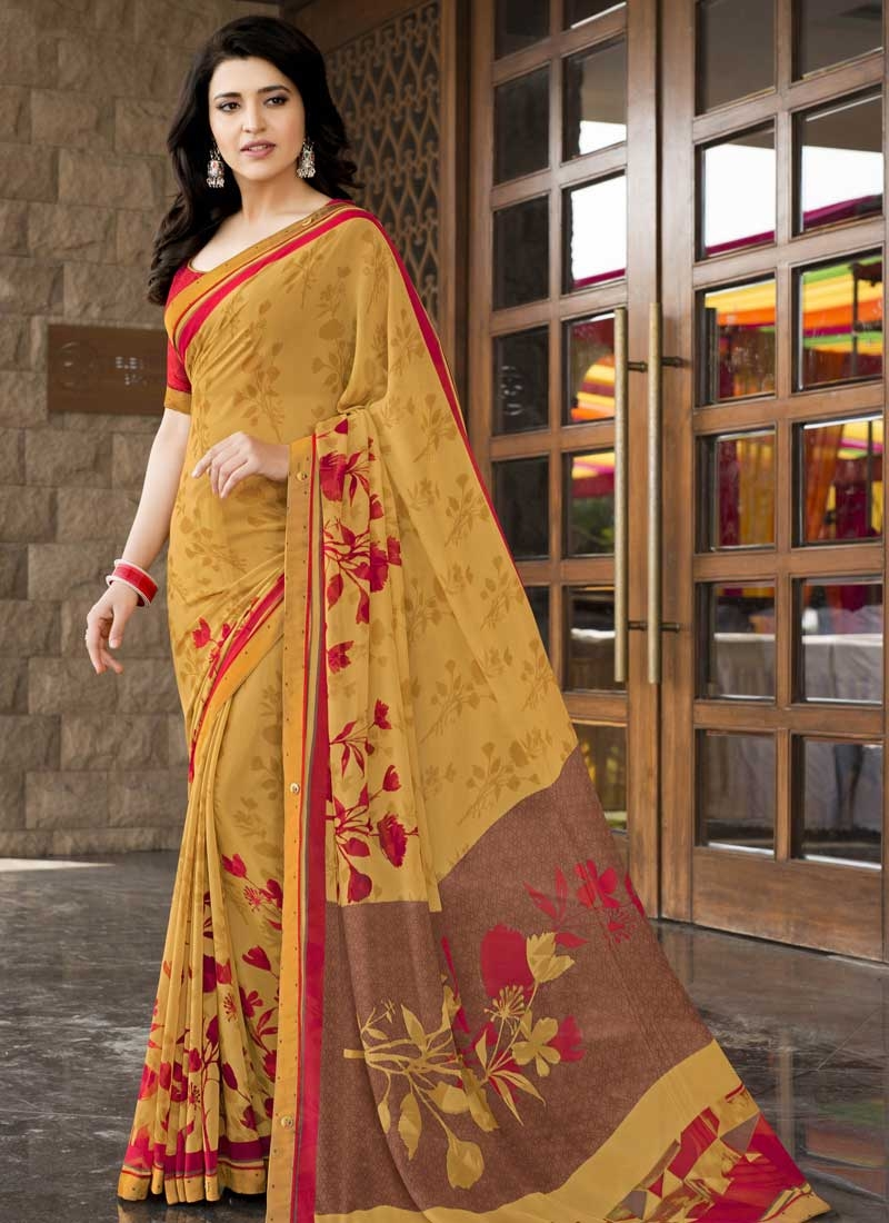 Faux Georgette Brown and Mustard Designer Contemporary Saree For Ceremonial