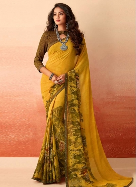 Faux Georgette Brown and Mustard Digital Print Work Contemporary Style Saree