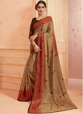 Faux Georgette Brown and Orange Printed Saree For Casual