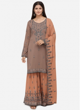 Faux Georgette Brown and Peach Sharara Salwar Kameez