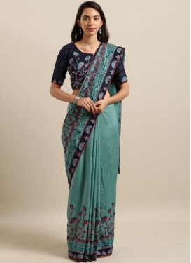 Faux Georgette Classic Designer Saree in Aqua Blue