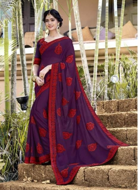 Faux Georgette Classic Designer Saree in Purple