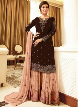 Faux Georgette Coffee Brown and Peach Embroidered Work Sharara Salwar Suit