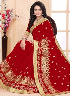 Faux Georgette Contemporary Saree For Ceremonial
