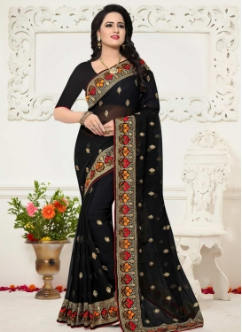 Faux Georgette Contemporary Style Saree For Ceremonial