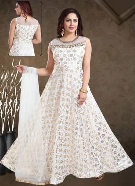Faux Georgette Cutdana Work Readymade Designer Gown