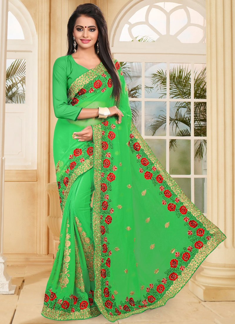 Faux Georgette Designer Contemporary Style Saree For Ceremonial