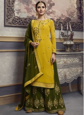 Faux Georgette Designer Palazzo Salwar Kameez For Party