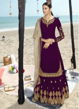 Faux Georgette Designer Straight Salwar Kameez For Ceremonial