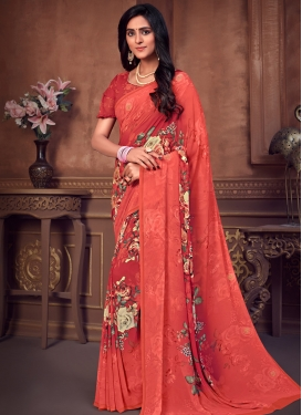 Faux Georgette Designer Traditional Saree For Ceremonial