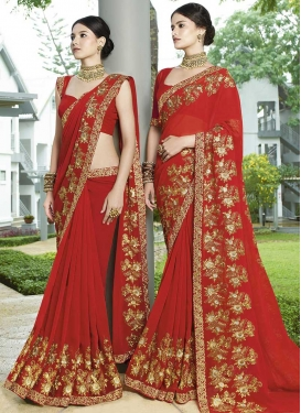 Faux Georgette Designer Traditional Saree For Festival