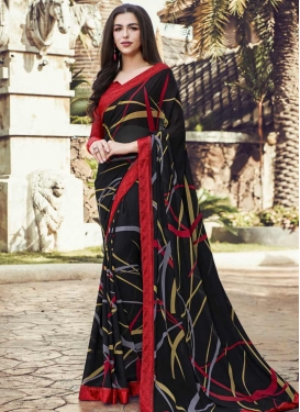 Faux Georgette Digital Print Work Black and Red Designer Contemporary Saree