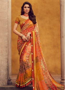 Faux Georgette Digital Print Work Contemporary Style Saree