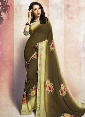 Faux Georgette Digital Print Work Cream and Olive Trendy Classic Saree