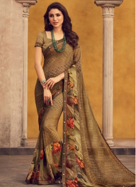 Faux Georgette Digital Print Work Designer Traditional Saree