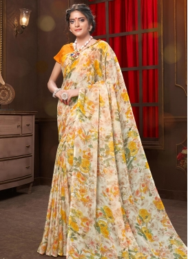 Faux Georgette Digital Print Work Mustard and Off White Contemporary Style Saree