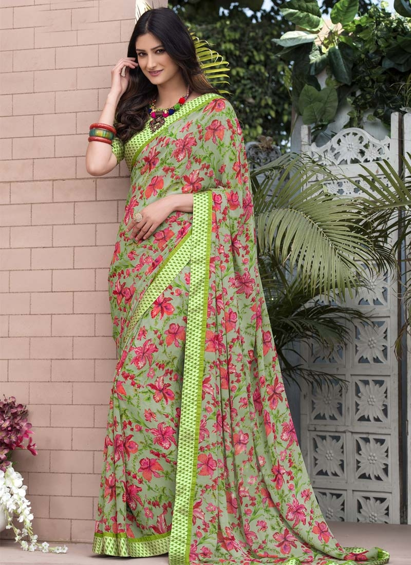 Faux Georgette Digital Print Work Traditional Designer Saree
