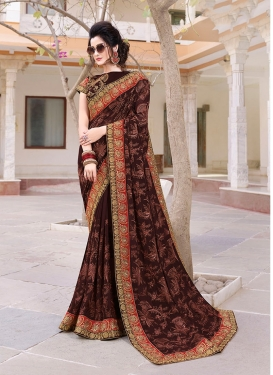 Faux Georgette Embroidered Classic Designer Saree in Coffee Brown