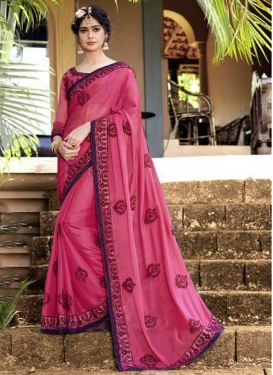 Faux Georgette Embroidered Classic Designer Saree in Hot Pink