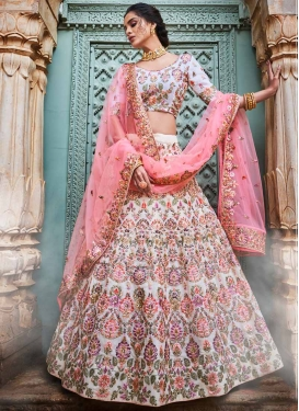 Faux Georgette Embroidered Work A - Line Lehenga