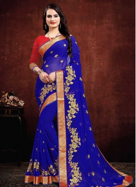 Faux Georgette Embroidered Work Designer Contemporary Saree