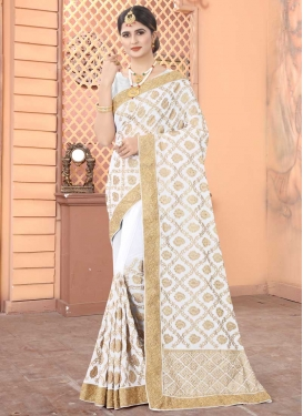 Faux Georgette Embroidered Work Designer Contemporary Style Saree