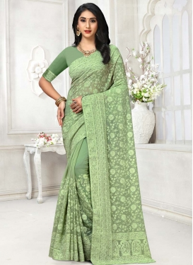 Faux Georgette Embroidered Work Designer Traditional Saree