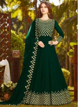 Faux Georgette Embroidered Work Floor Length Anarkali Salwar Suit