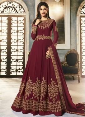 Faux Georgette Embroidered Work Floor Length Anarkali Salwar Suit