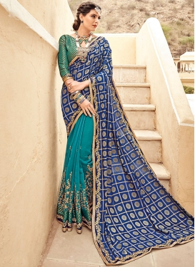 Faux Georgette Embroidered Work Half N Half Designer Saree