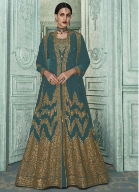 Faux Georgette Embroidered Work Jacket Style Salwar Kameez