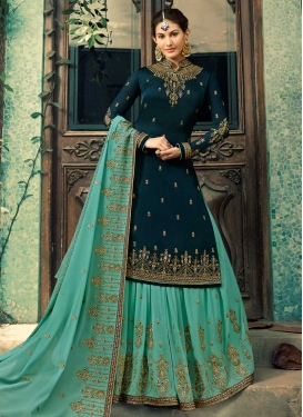 Faux Georgette Embroidered Work Kameez Style Lehenga