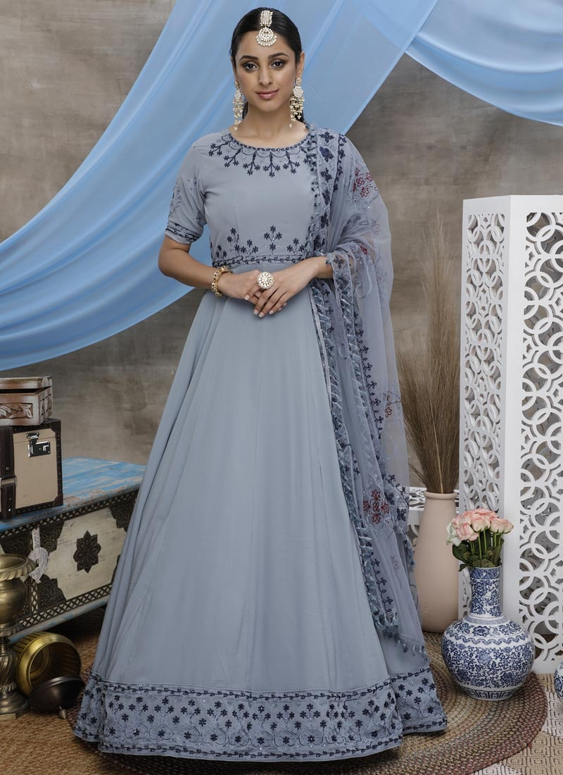Faux Georgette Embroidered Work Long Length Anarkali Suit