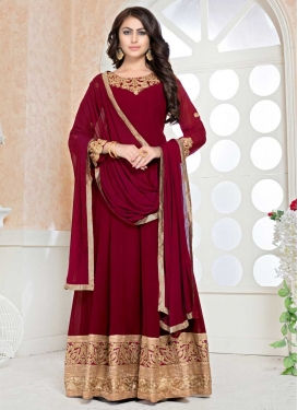 Faux Georgette Embroidered Work Long Length Designer Anarkali Suit