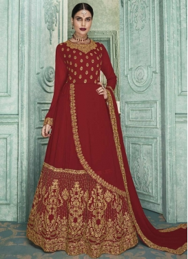 Faux Georgette Embroidered Work Long Length Layered Salwar Suit