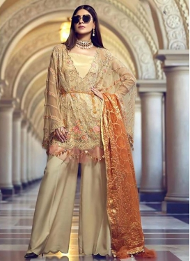 Faux Georgette Embroidered Work Palazzo Style Pakistani Salwar Kameez