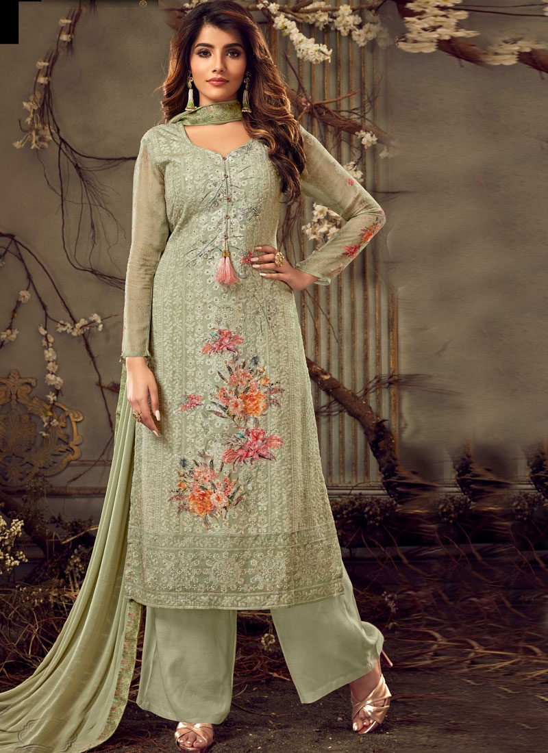 Faux Georgette Embroidered Work Palazzo Style Pakistani Salwar Suit
