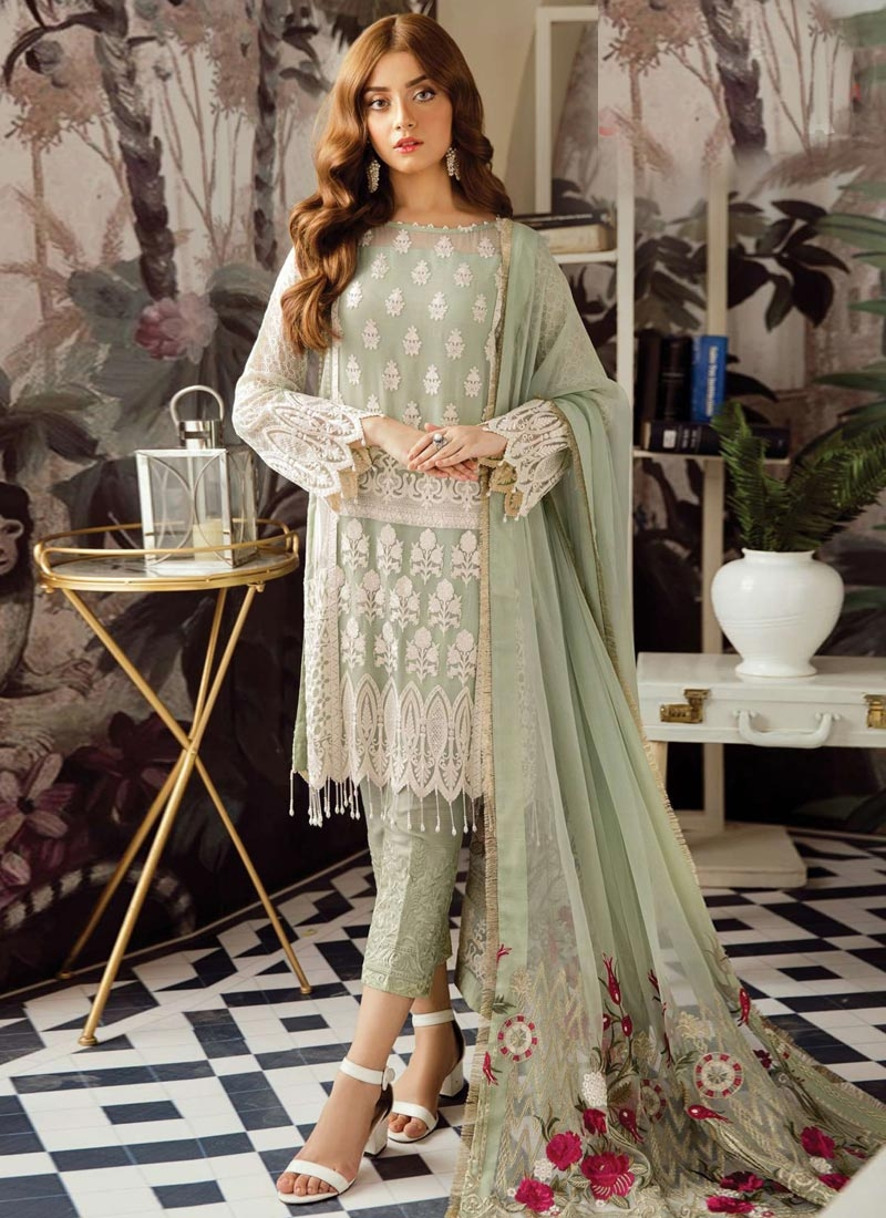 Faux Georgette Embroidered Work Pant Style Classic Salwar Suit